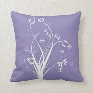 Scrolls with flowers on purple ground - throw pillow