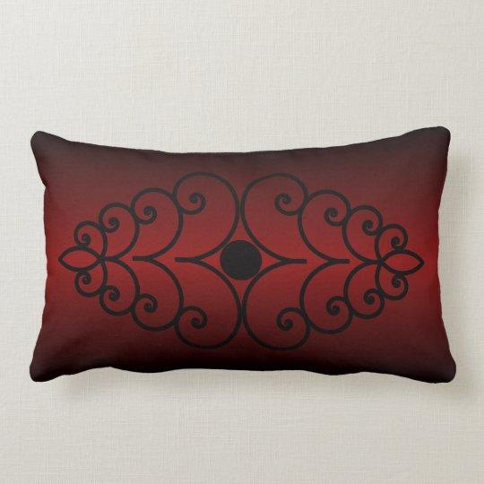 Scrollwork on Dark Red Gradient Lumbar Pillow