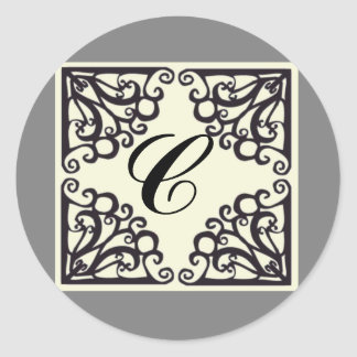Scrollwork Sticker Personalized Initial