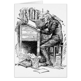 Scrooge at His Desk Greeting Card
