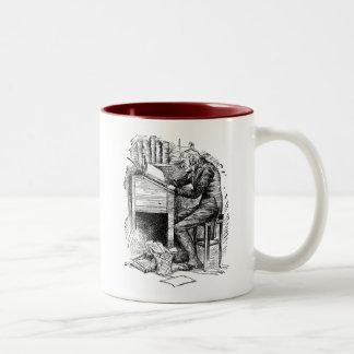 Scrooge at His Desk Two-Tone Coffee Mug