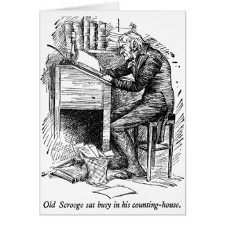Scrooge at His Desk (with text) Greeting Cards