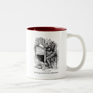 Scrooge at His Desk (with text) Two-Tone Coffee Mug