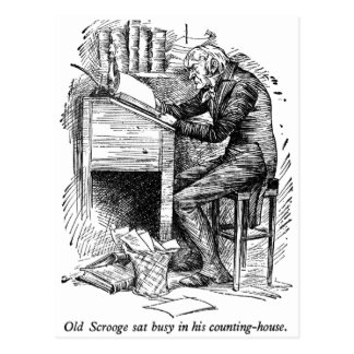 Scrooge at His Desk with text Postcards