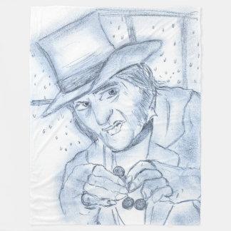 Scrooge in blue fleece blanket