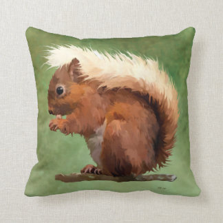 Scruffy Red Squirrel Throw Pillow