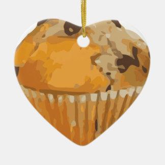 Scrumptious Blueberry Muffin Delicious Dessert Ceramic Heart Ornament