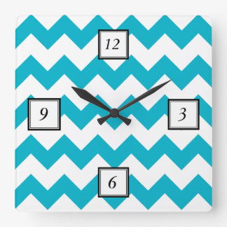 Scuba Blue White Chevron Pattern Clocks