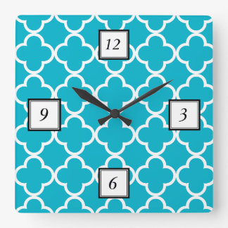 Scuba Blue White Quatrefoil Moroccan Pattern Clocks