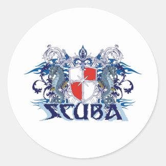 SCUBA CREST CLASSIC ROUND STICKER