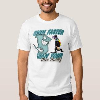 Scuba Dive Buddy Fun Design With Shark And Scuba D Tee Shirts