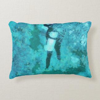 Scuba diver and bubbles accent pillow