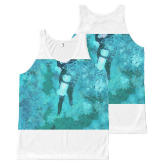 Scuba diver and bubbles All-Over-Print tank top