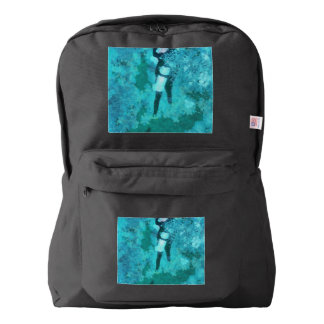 Scuba diver and bubbles backpack