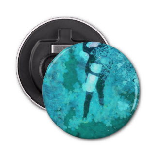 Scuba diver and bubbles bottle opener