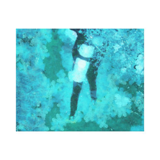 Scuba diver and bubbles canvas print