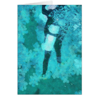 Scuba diver and bubbles card