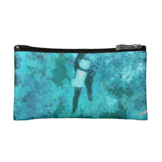 Scuba diver and bubbles cosmetic bags