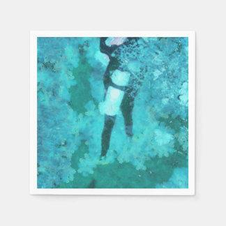 Scuba diver and bubbles disposable napkin
