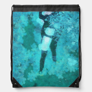 Scuba diver and bubbles drawstring bag