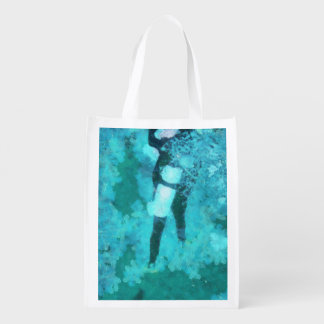 Scuba diver and bubbles grocery bags