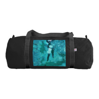 Scuba diver and bubbles gym bag