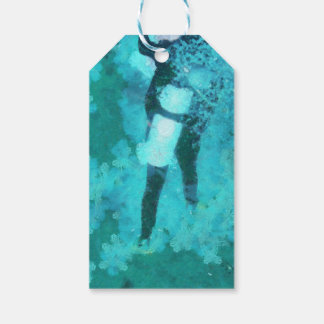 Scuba diver and bubbles pack of gift tags