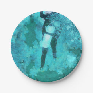 Scuba diver and bubbles paper plate