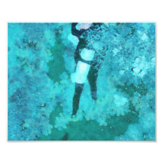 Scuba diver and bubbles photo print