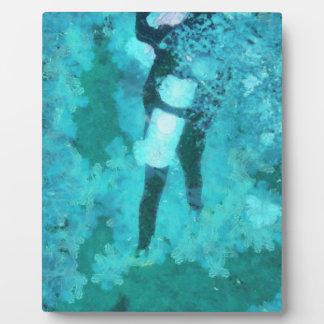 Scuba diver and bubbles plaque