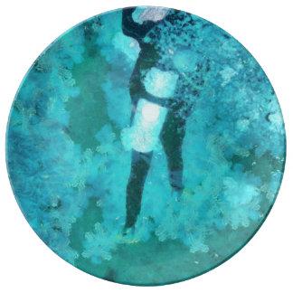 Scuba diver and bubbles plate