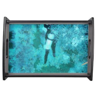 Scuba diver and bubbles serving tray