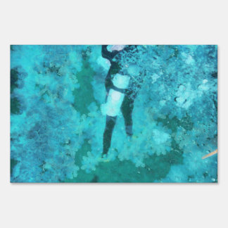 Scuba diver and bubbles sign