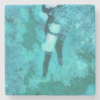 Scuba diver and bubbles stone coaster