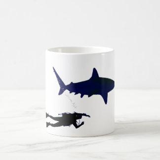 SCUBA diver and shark Coffee Mug