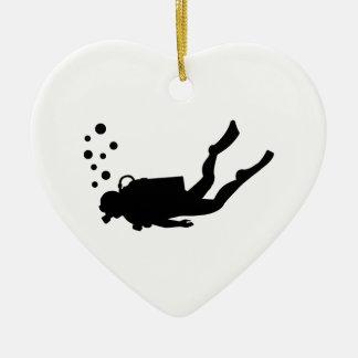 Scuba diver bubbles ceramic ornament
