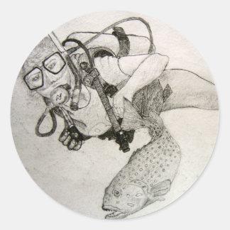 Scuba Diver Classic Round Sticker