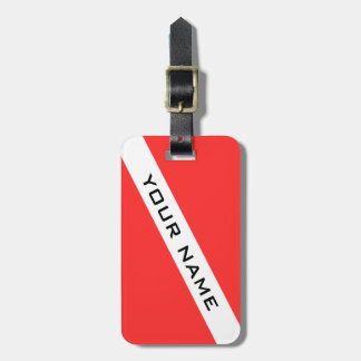 SCUBA DIVER. DIVERS FLAG PERSONAL LUGGAGE TAG