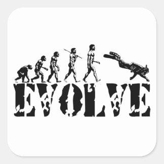 Scuba Diver Diving Evolution Sports Art Square Sticker