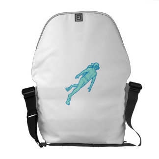 Scuba Diver Diving Mono Line Messenger Bag