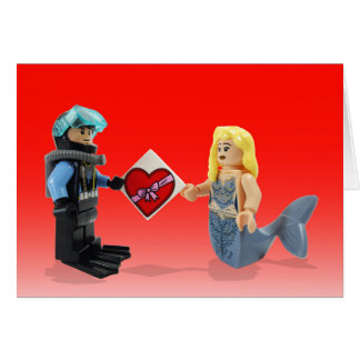 Scuba Diver giving a beautiful Mermaid a present! Card