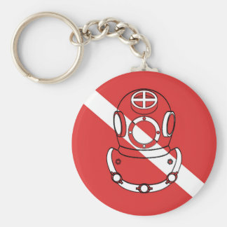 SCUBA DIVER HELMET RED WHITE DIVERS FLAG GIFT KEYCHAIN