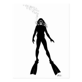 Scuba Diver Silhouette (Woman) Postcard