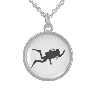 Scuba Diver Sterling Silver Necklace