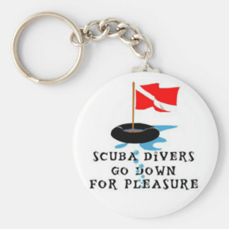 Scuba Divers Go Down For Pleasure Keychain