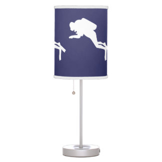 SCUBA DIVERS White on blue Table Lamp