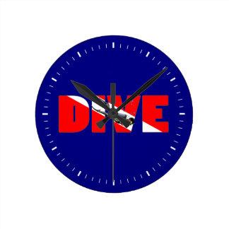 Scuba Diving DIVE Round Clock