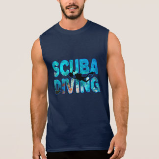 Scuba Diving Diver With Diving Suit And Swim Fins Sleeveless Shirt