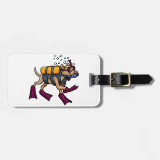 Scuba Diving Dog Luggage Tags