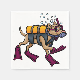 Scuba Diving Dog Paper Napkins